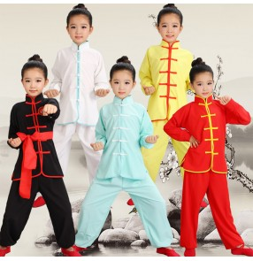 Children Chinese Wushu Costumes boys girls Youth martial long sleeved sports clothes Tai Chi students Kung Fu performance cosplay unifroms