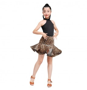 Children leopard latin tops and skirts stage performance competition professional salsa rumba dancing dresses