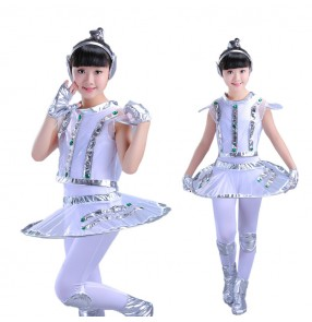 Children's robot astronaut performance space dance costumes for girls show time for kids outfits unisex dance clothes