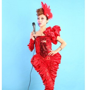Female fashion jazz dance costumes for women white red lace singers lead dancers party show stage performance jumpsuits rompers bodysuits