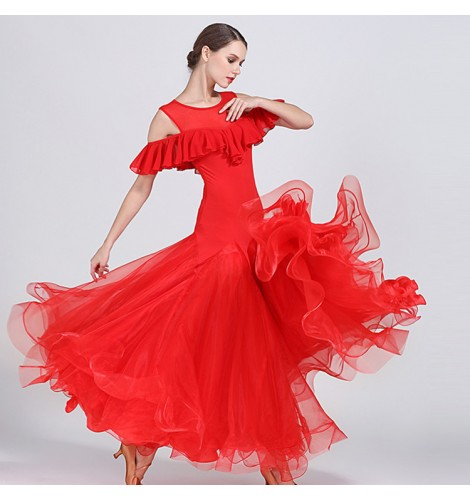 bd1172fa31d Flamenco red black Women s competition ballroom dresses Vestidos de salón  de mujeres stage performance professional tango waltz dancing dress