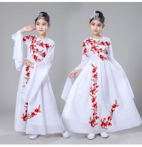 Girls Chinese folk dance costumes fairy ancient traditional stage performance yangko fan film cosplay robes dresses