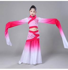 Girls Chinese folk dance dresses ancient gradient pink for kids children traditional fairy classical dance water fall sleeves performance competition costumes