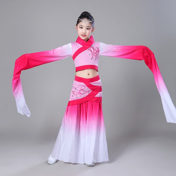 S Chinese Folk Dance Dresses Ancient Grant Pink For Kids Children Traditional Fairy Clical Water Fall Sleeves Performance Compeion