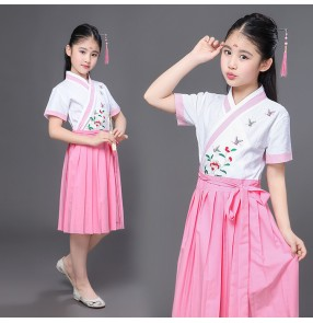 Girls Chinese folk dance dresses for kids children minority han fu  ancient traditional fairy anime drama dancing cosplay stage performance dresses costumes