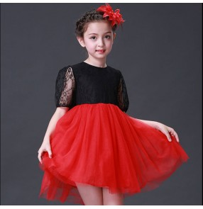 Girls princess jazz dance dresses for kids children lace black and red school competition flower girls show party stage performance costumes