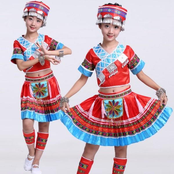 Ethnic National: Girls Children Folk Dance Costumes Dresses : Girls Red