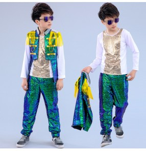 Green pailette jazz dance oufits for boys kids children modern street hiphop show drummer performance dancing tops jackets and pants
