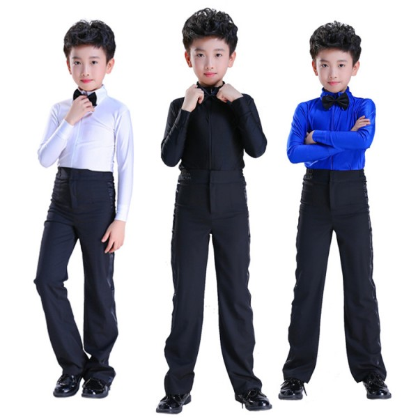 55ab69e25adb Kids ballroom latin dance tops and pants royal blue white children  performance competition salsa rumba waltz tango dance sets