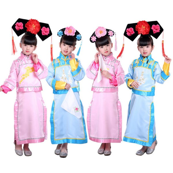84c581e29 Kids chinese ancient princesses traditional dance costumes for girls qing  dynasty drama film cosplay show stage performance robes