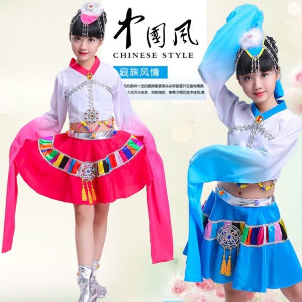 a1f5803efc73 Childrens Tibetan Dance Costume Water Sleeve Dance Clothing Chines ...