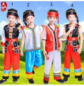 Kids Chinese folk dance costumes boys ancient traditional tujia miao hmong minority hulusi performance tops and pants