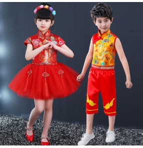 Kids chinese folk dance costumes for boys girls red and gold dragon ancient traditional yangko drummer performance film cosplay dance dresses