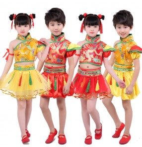 Kids Chinese folk dance costumes girls boys ancient traditional drummer stage performance yangko china style new year celebration clothes