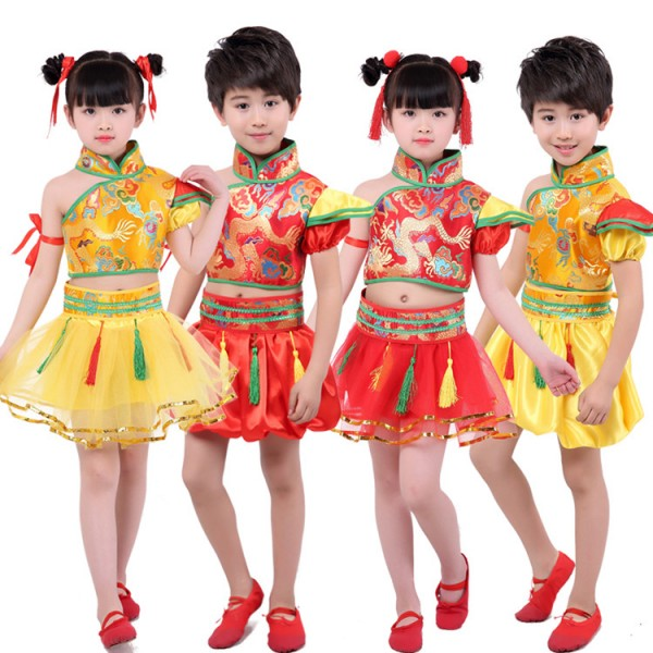e2f50d128 Kids Chinese folk dance costumes girls boys ancient traditional ...