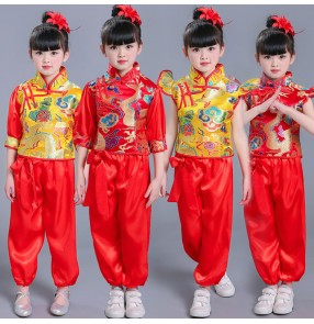 Kids chinese folk dance cotumes  girls gold red  china dragon style drummer competition yangko fan dance costumes tops and pants