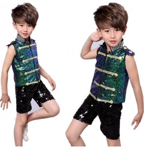 Kids jazz dance costumes sequin pailletter modern dance fashion hiphop singers hiphop chorus performance cosplay dancing outfits