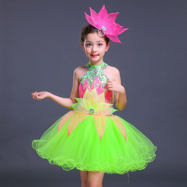 dc6af950552c Kids jazz dance dresses sequin modern dance school competition ...