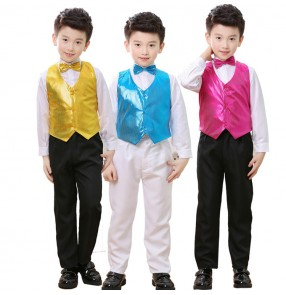 Kids modern dance outfits boys jazz singers chorus stage performance school competition party cosplay photos dancing tops and pants