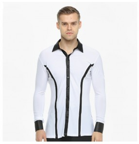 Man competition ballroom shirts male long sleeves black ribbon white performance competition waltz tango dancing tops