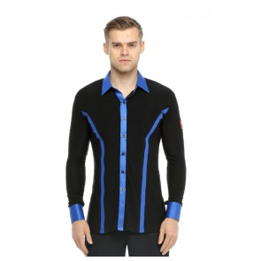 Men's ballroom latin dance shirts black and blue ribbon competition stage performance professional chacha rumba tango dance tops