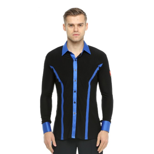 mens ballroom latin dance shirts black and blue ribbon competition stage performance professional chacha rumba tango dance tops