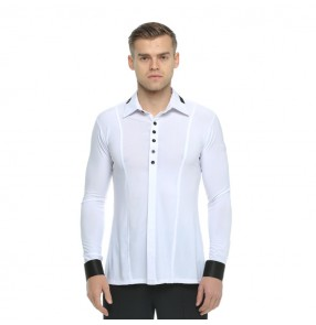 Men's ballroom latin dance shirts competition professional stage performance white black waltz tango dancing tops shirts