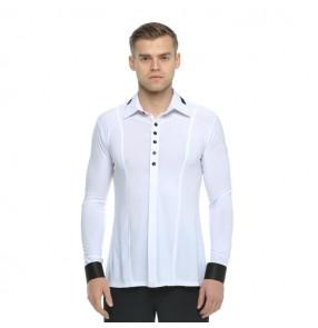 Men's ballroom latin dance shirts competition professional stage performance white black waltz tango dancing tops shirts
