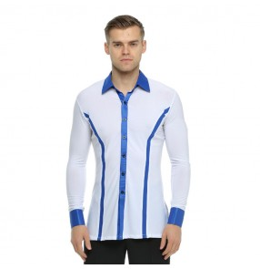 Men's ballroom latin dance shirts for male white and blue competition performance exercises tango waltz dancing tops