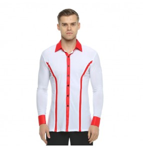 Men's latin ballroom shirts competition white and red stage performance professional waltz tango dancing tops