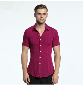 Men's latin dance shirts wine red pink brown tops short sleeves competition stage performance professional professional shirts