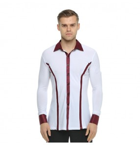 Men's latin shirt for male competition professional exercises wine ribbon performance salsa chacha tango waltz rumba dance tops