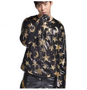 Men's sequin jazz dance tops t shirts for male gold black competition show stage performance night club dj singers dancers hiphop dancing tops