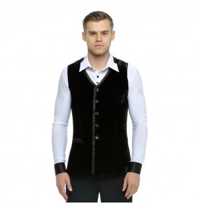 Men's velvet latin vests for female black color competition stage performance ballroom tango chacha jive waltz dancing waistcoats
