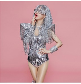 Silver rivet jazz dance bodysuits for women female sequin fashion birthday party show competition singers group dancers dj stage performance photos cosplay outfits
