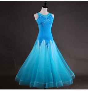Turquoise ballroom dresses for women female diamond competition stage performance waltz tango long dresses