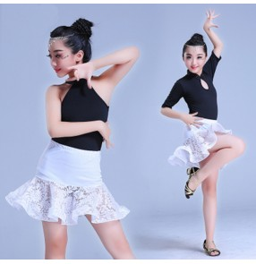white and black latin dresses for girls kids children lace competition exercises stage performance rumba chacha salsa dance dresses