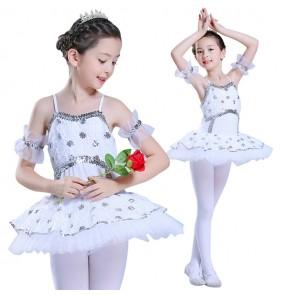 White ballet dance dresses girls kids children modern dance stage performance competition swan lake stage performance show dresses