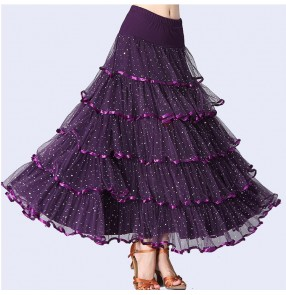 Women's ballroom dance skirts red black green purple competition stage performance professional waltz tango dancing skirts