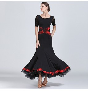 Women's ballroom dresses competition black stage performance waltz tango chacha dancing outfits