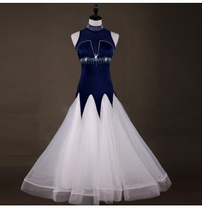 Women's ballroom dresses diamond navy and white competition professional waltz tango flamenco long dresses