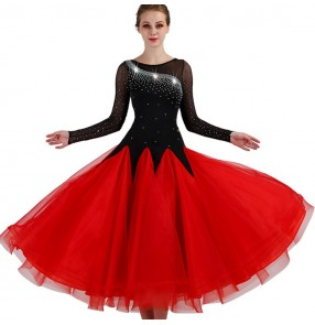 Women's ballroom dresses for female black with red competition long sleeves diamond professional chacha rumba samba dancing dress