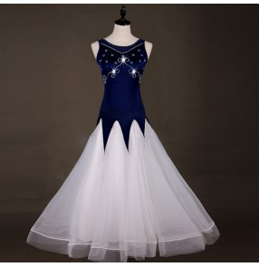 Women's ballroom dresses for female navy diamond white stage performance professional waltz tango competition long dresses