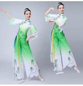 Women's chinese folk dance costumes for female green gradient square dance practice exercises performance yangko fan dance dresses
