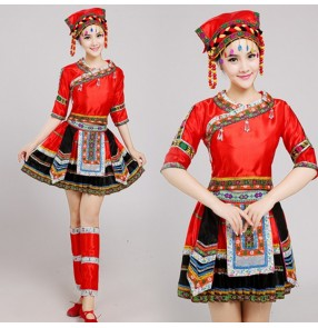 Women's chinese folk dance costumes minority ancient traditional miao hmong performance photos drama cosplay dresses