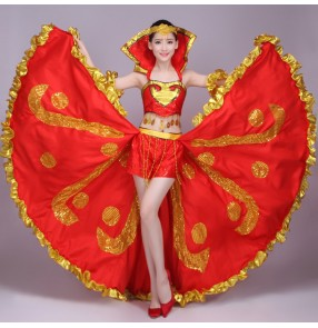 Women's flamenco Spanish bull dance outfits red royal blue stage performance ballroom opening singer dancing dresses