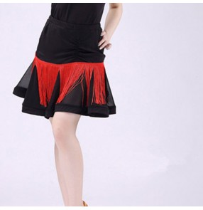 Women's fringes latin dance skirts competition stage performance professional salsa chacha rumba dancing skirt