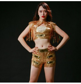 Women's jazz dance outfits gold paillette modern dance stage performance show party photos cosplay singers dancers competition costumes