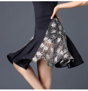 Women's stage performance latin skirts female yellow white rose lace competition professional rumba salsa chacha dance skirts