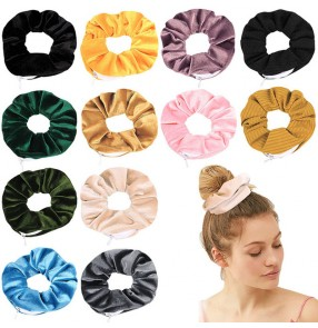 10PCS elastic hair band scrunchies velvet hair loop with zipper hair accessories for women